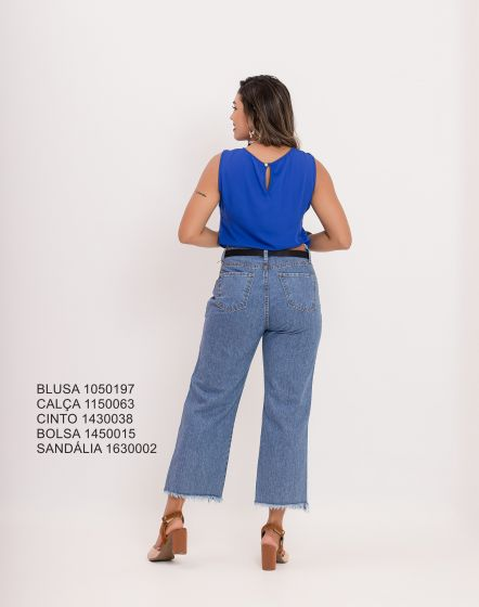 CALÇA JEANS WIDE BARRA DESFIADA